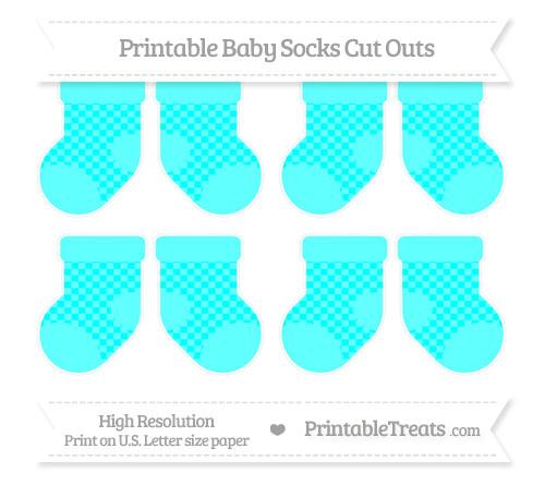 Free Aqua Blue Checker Pattern Small Baby Socks Cut Outs