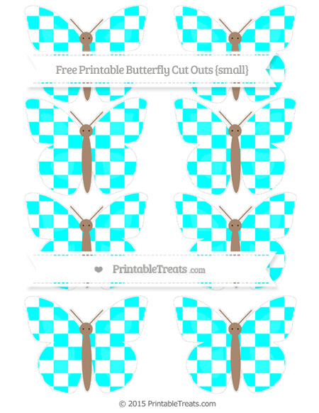 Free Aqua Blue Checker Pattern Small Butterfly Cut Outs