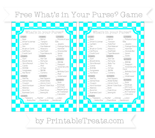 Free Aqua Blue Checker Pattern What's in Your Purse Baby Shower Game