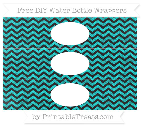 Free Aqua Blue Chevron Chalk Style DIY Water Bottle Wrappers