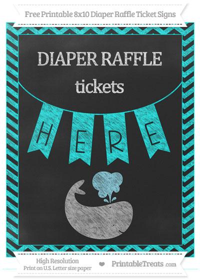 Free Aqua Blue Chevron Chalk Style Whale 8x10 Diaper Raffle Ticket Sign