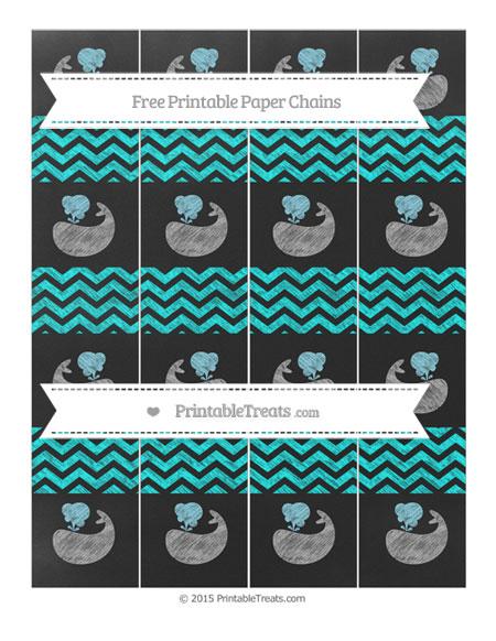 Free Aqua Blue Chevron Chalk Style Whale Paper Chains