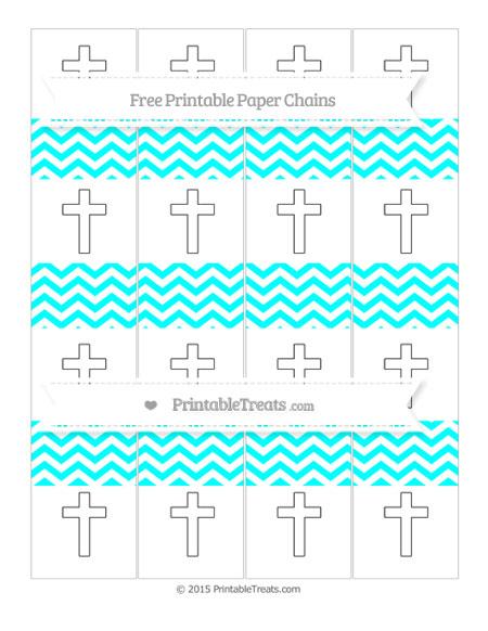 Free Aqua Blue Chevron Cross Paper Chains