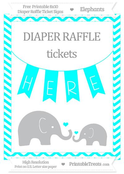 Free Aqua Blue Chevron Elephant 8x10 Diaper Raffle Ticket Sign