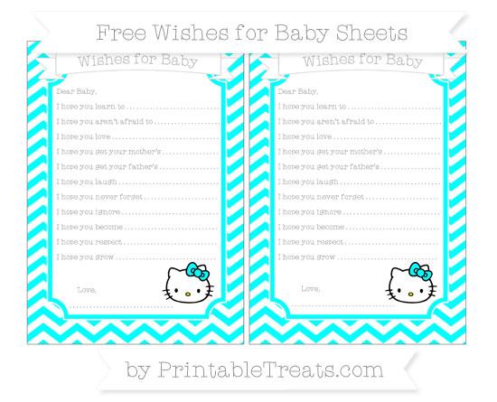 Free Aqua Blue Chevron Hello Kitty Wishes for Baby Sheets
