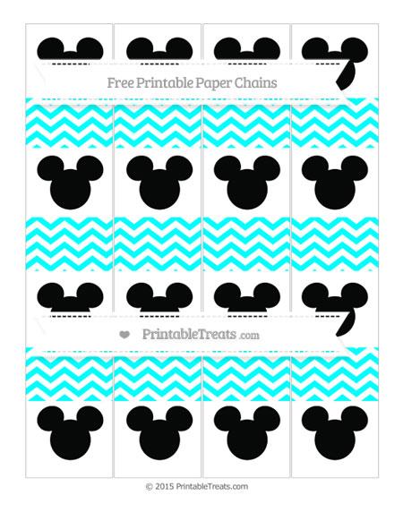 Free Aqua Blue Chevron Mickey Mouse Paper Chains