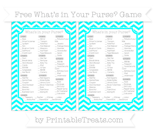 Free Aqua Blue Chevron What's in Your Purse Baby Shower Game