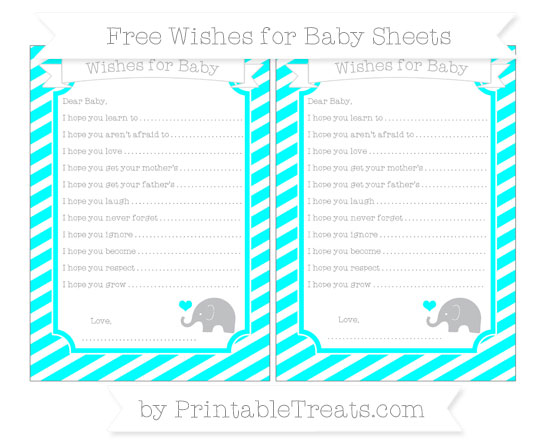 Free Aqua Blue Diagonal Striped Baby Elephant Wishes for Baby Sheets
