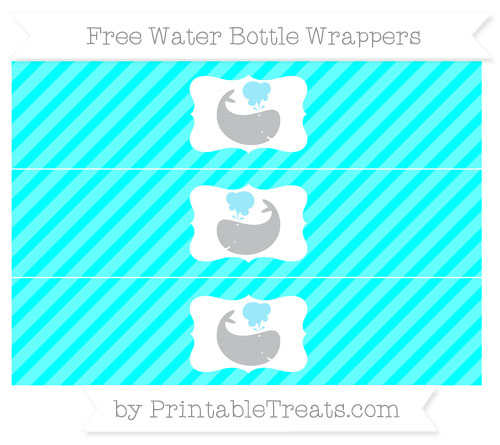Free Aqua Blue Diagonal Striped Whale Water Bottle Wrappers