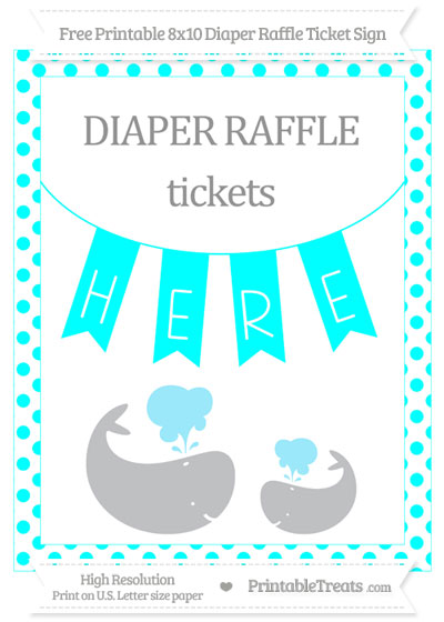 Free Aqua Blue Dotted Baby Whale 8x10 Diaper Raffle Ticket Sign