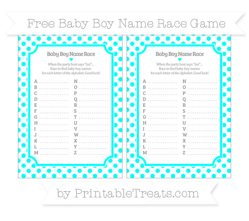 Free Aqua Blue Dotted Pattern Baby Boy Name Race Game
