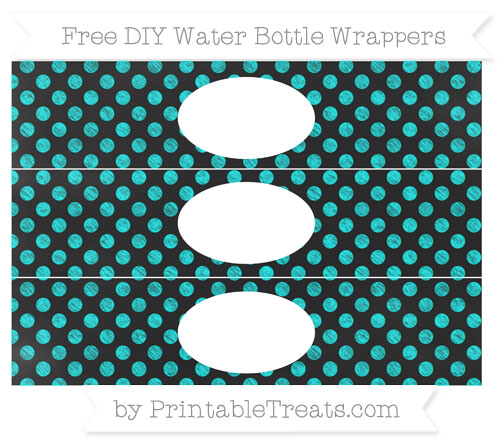 Free Aqua Blue Dotted Pattern Chalk Style DIY Water Bottle Wrappers