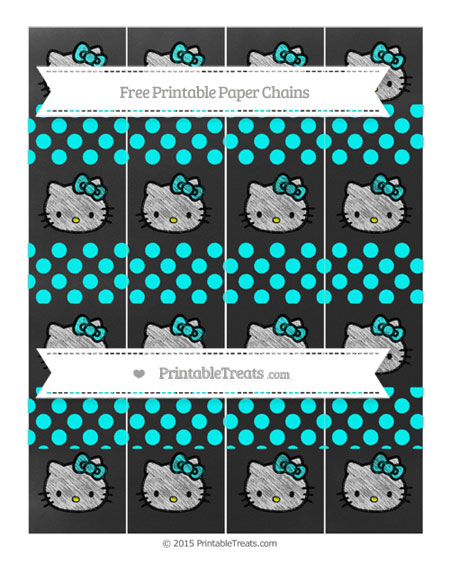 Free Aqua Blue Dotted Pattern Chalk Style Hello Kitty Paper Chains