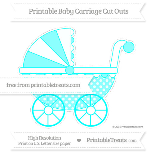Free Aqua Blue Dotted Pattern Extra Large Baby Carriage Cut Outs