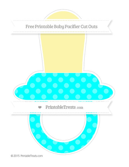 Free Aqua Blue Dotted Pattern Extra Large Baby Pacifier Cut Outs