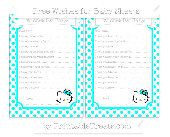 Free Aqua Blue Dotted Pattern Hello Kitty Wishes for Baby Sheets
