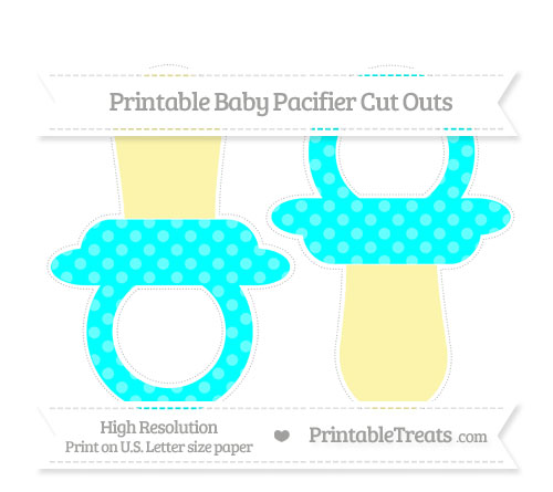 Free Aqua Blue Dotted Pattern Large Baby Pacifier Cut Outs