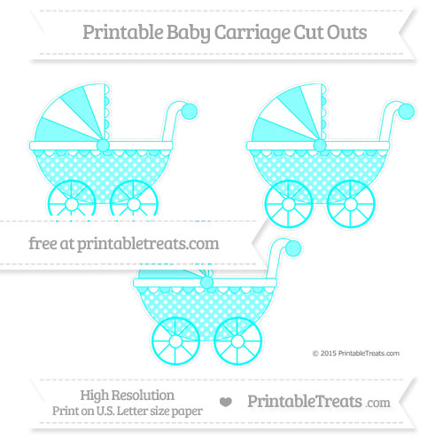 Free Aqua Blue Dotted Pattern Medium Baby Carriage Cut Outs