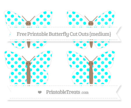 Free Aqua Blue Dotted Pattern Medium Butterfly Cut Outs