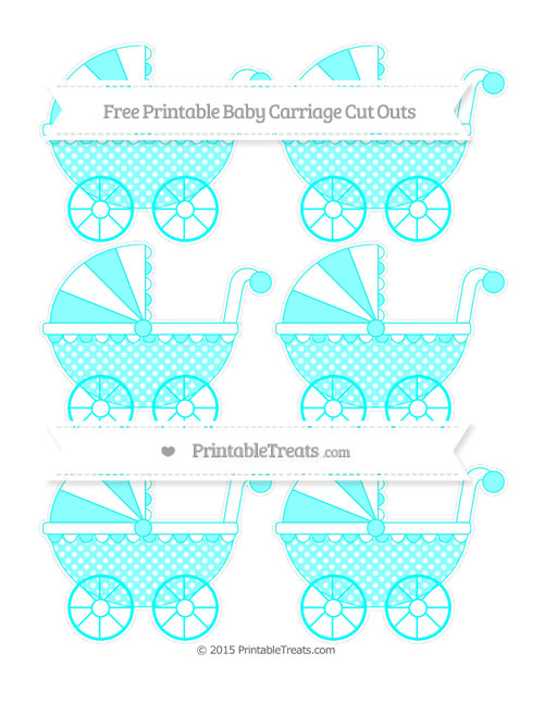 Free Aqua Blue Dotted Pattern Small Baby Carriage Cut Outs