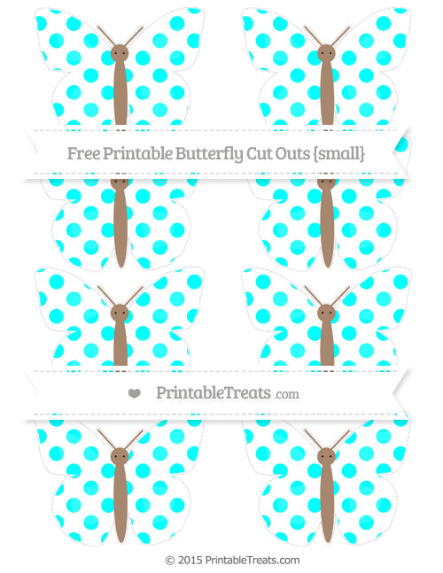 Free Aqua Blue Dotted Pattern Small Butterfly Cut Outs