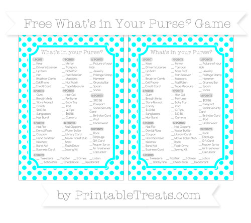 Free Aqua Blue Dotted Pattern What's in Your Purse Baby Shower Game