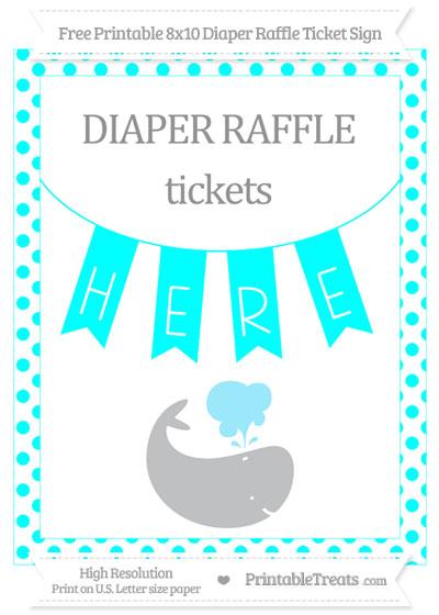 Free Aqua Blue Dotted Whale 8x10 Diaper Raffle Ticket Sign