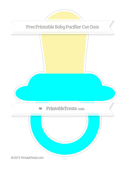 Free Aqua Blue Extra Large Baby Pacifier Cut Outs