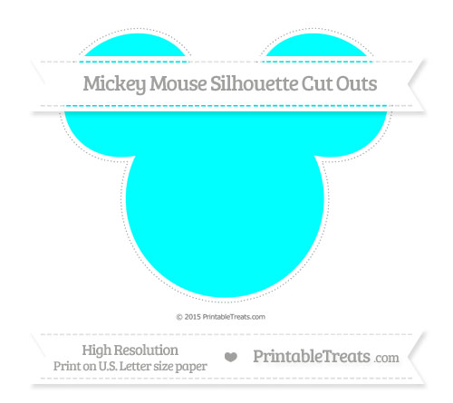 Free Aqua Blue Extra Large Mickey Mouse Silhouette Cut Outs