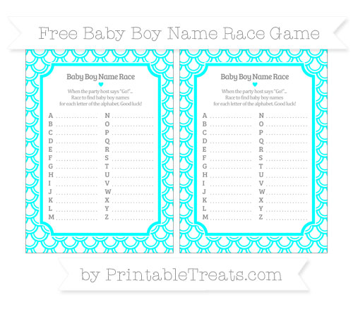 Free Aqua Blue Fish Scale Pattern Baby Boy Name Race Game