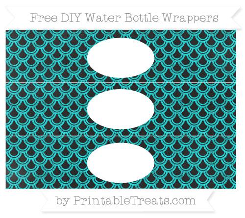 Free Aqua Blue Fish Scale Pattern Chalk Style DIY Water Bottle Wrappers