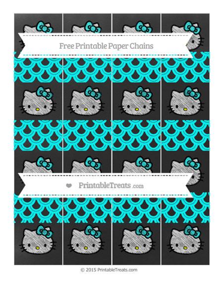 Free Aqua Blue Fish Scale Pattern Chalk Style Hello Kitty Paper Chains