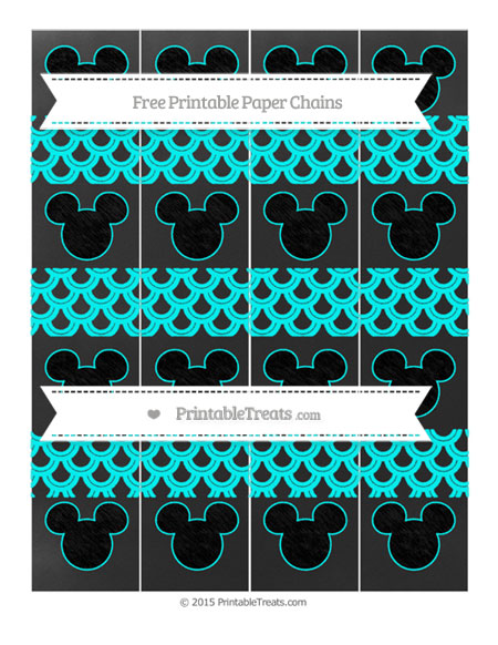 Free Aqua Blue Fish Scale Pattern Chalk Style Mickey Mouse Paper Chains