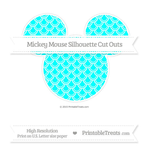 Free Aqua Blue Fish Scale Pattern Extra Large Mickey Mouse Silhouette Cut Outs