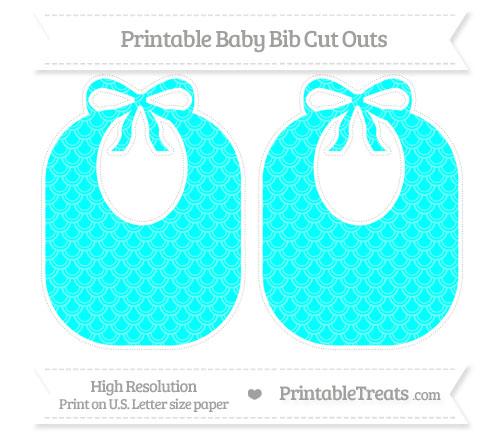 Free Aqua Blue Fish Scale Pattern Large Baby Bib Cut Outs