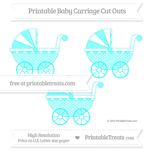 Free Aqua Blue Fish Scale Pattern Medium Baby Carriage Cut Outs