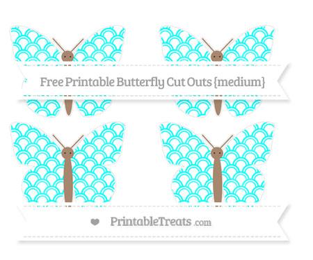 Free Aqua Blue Fish Scale Pattern Medium Butterfly Cut Outs