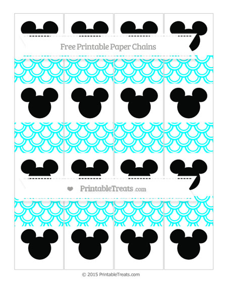 Free Aqua Blue Fish Scale Pattern Mickey Mouse Paper Chains