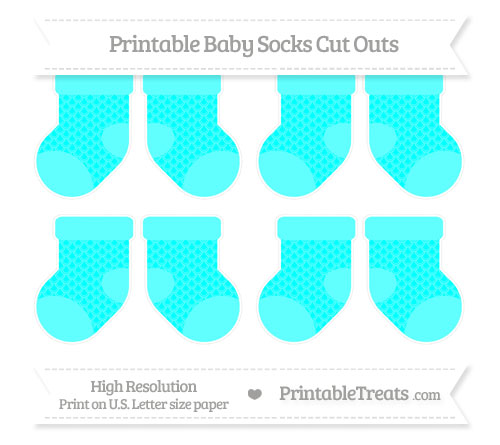 Free Aqua Blue Fish Scale Pattern Small Baby Socks Cut Outs