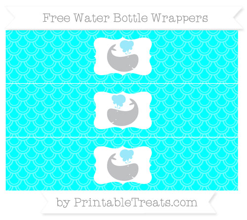Free Aqua Blue Fish Scale Pattern Whale Water Bottle Wrappers