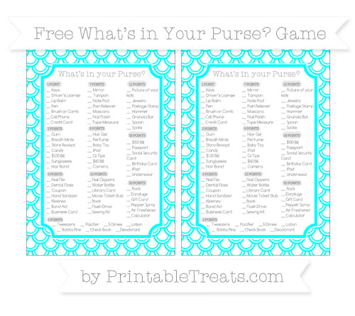 Free Aqua Blue Fish Scale Pattern What's in Your Purse Baby Shower Game