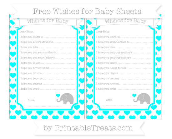 Free Aqua Blue Heart Pattern Baby Elephant Wishes for Baby Sheets