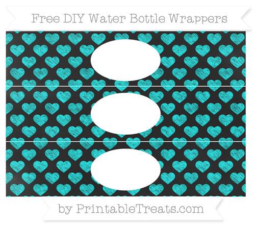Free Aqua Blue Heart Pattern Chalk Style DIY Water Bottle Wrappers