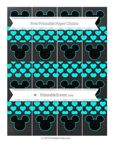 Free Aqua Blue Heart Pattern Chalk Style Mickey Mouse Paper Chains