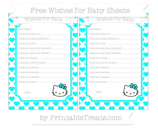 Free Aqua Blue Heart Pattern Hello Kitty Wishes for Baby Sheets
