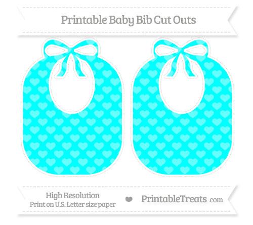 Free Aqua Blue Heart Pattern Large Baby Bib Cut Outs