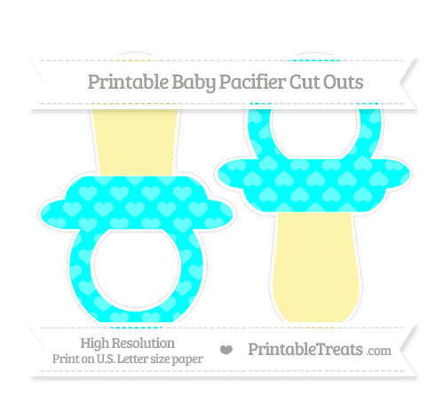 Free Aqua Blue Heart Pattern Large Baby Pacifier Cut Outs
