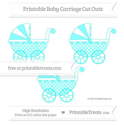Free Aqua Blue Heart Pattern Medium Baby Carriage Cut Outs