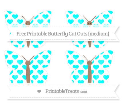Free Aqua Blue Heart Pattern Medium Butterfly Cut Outs