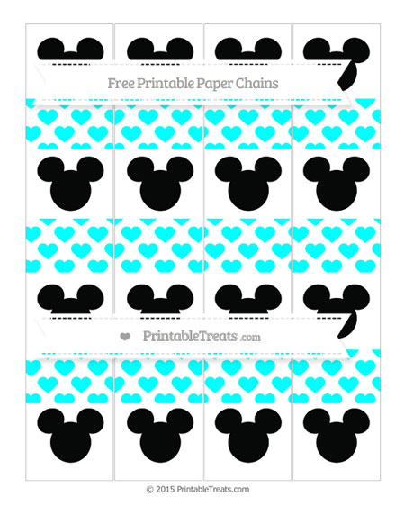 Free Aqua Blue Heart Pattern Mickey Mouse Paper Chains